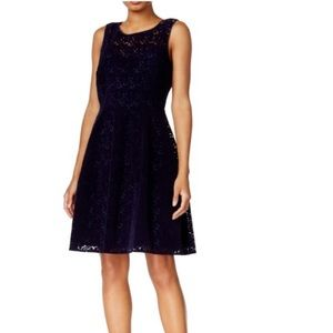 T.Hilfiger Velvet Fit & Flare Lace Cocktail Dress